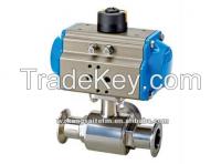 Trip-clamp 3-way pneumatic ball valve