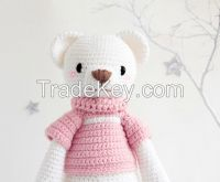 LIZZIE THE WISE BEAR (DREAM GUARDIANS COLLECTION) - BABY HANDMADE AMIGURUMI PLUSH TOYS, WOOL KNITTED