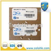 Custom printing adhesive label, Laminated paper labels, destructible eggshell label, tamper proof label