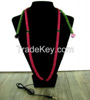 2015 Urizons New product personality In-Ear green red multicolour wood beads Wired MP3 beaded necklace headsets