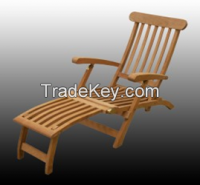 Steamer Chair, Sun Lounger - Mini Tray - Outdoor, Garden - Teak Wood - All measures possible