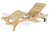 Sun Lounger - Mini Tray - Outdoor, Garden - Teak Wood
