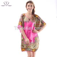 Time-limited Summer Silk Sleepwear For Women New Fashion Heart Shape Print Round Neck Women Nightgown