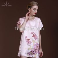 2015 Time Rushed Spring Summer Pink Women Sleepshirt Short Sleeve Floral Print Satin Nightgown For Women