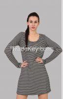 lovely black and white stripe round neck dress