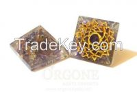 Orgone Engraved Crown Chakra Pyramid