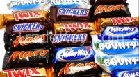 Kinder surprise, Twix Bounty M&M's Snickers, Toblerone, Mars, Ferrero