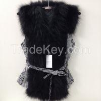 Beautiful spectacular coat  vest of fur   BLACK RACCOON