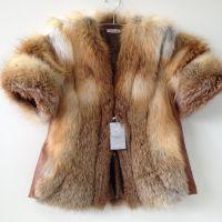 Beautiful spectacular coat of fur bolero genuine fox RED FOX