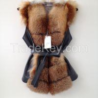 Beautiful spectacular coat  vest of fur   RED FOX
