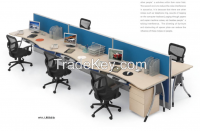 modern design six persons partition, workstation attaching with pedestal