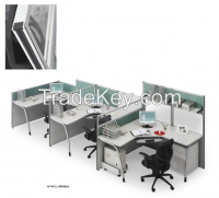 modern design three persons partition, workstation attaching with pedestal