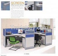 modern design two persons partition, workstation attaching with pedestal
