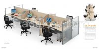 modern design four person partition, workstation attaching with pedestal