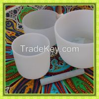 Frosted quartz crystal singing bowls for wholesale