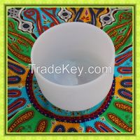 frosted crystal quartz singing bowl for yoga and sound therapy