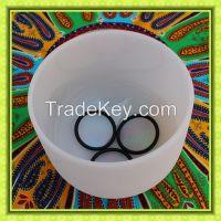 Crystal frosted quartz singing bowl