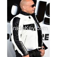 FAST AND FURIOUS 7 PREMIERE VIN DIESEL WHITE LEATHER MOTORCYCLE JACKET