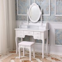 Vanity with Mirror and Stool Set
