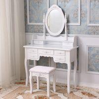 Wood Makeup Vanity Set with Mirror