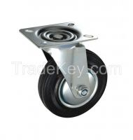 Black rubber rubbish container caster industrial casters