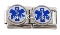 9mm stainless steel 18 links medical ID alert Italian charm bracelet