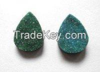 Green Druzy Pear Full Flat Loose Stones
