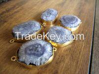 SOLARquartz stone connectors natural gem stone for jewelry accessories