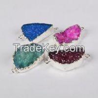 Brazil titanium druzy quartz stone connectors natural gem stone for jewelry accessories