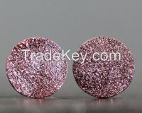 Circle Druzy Earring Pair, Titanium use for silver jewelry