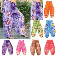 Thai Aladdin Harem Baggy Genie Pants for Women/Men/Unisex Very comfortable, Great for Yoga/Sport/Outdoor, Handmade in Thailand, Boho Gypsy Hippie