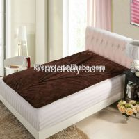 Quilted fleece blankets for whole bedding mattress with double layer pockets Sleeping mattress