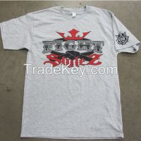 Custom made O neck cotton t-shirts, cotton t shirt with screen prinitng
