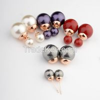 Christmas Ornament Fashion Jewelry Artificial Gold Plated Pearl Stud Earring, Cheap Double Side MixColor Imitation