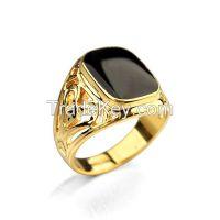 2015 dubai yellow gold black oil charm men's ring