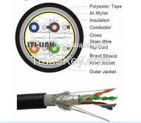 New PVC Copper braiding type Lan Cable SFTP Cat6 with Al-foil shielding
