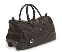 BROWN LEATHER DUFFLE TROLLEY BAG