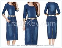 Denim Pencil Dress w/Golden Cuff 2015 Summer
