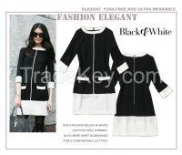 2015 Summer Black & White mini Dress