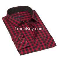 Top quality long slevee 100% cotton wholesale check shirt for business man