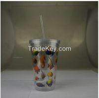 Double wall plastic tumbler, starbucks tumbler with straw