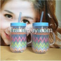 16OZ Double wall tumbler with lids and straw