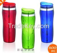 16 oz double wall plastic mug,plastic travel mug