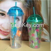 16OZ Double wall plastic starbucks cofee mug
