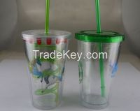 16OZ Double wall cup, starbucks cup with straw
