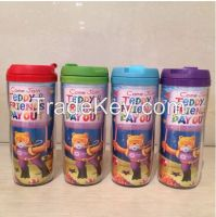 Double wall plastic cup,double wall cup with bpa free