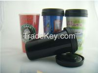 16OZ Double wall plastic mug insert paper, paper insert mug