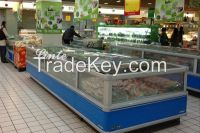 supermarket double island display freezer for meat/seafood/chicken