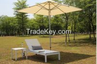 Outdoor garden aluminum sling sun lounger with wheels