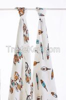 LAT pre-washed bamboo muslin blanket swaddles